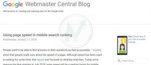 La velocità di caricamento di un sito web influenzerà il posizionamento su Google