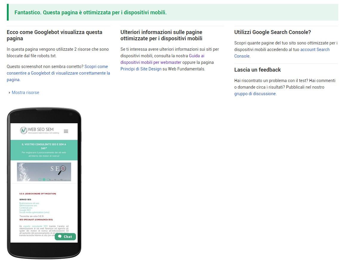 Google Test di compatibilità con dispositivi mobili
