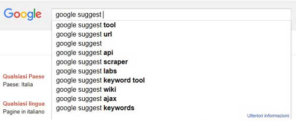 Google SERP: L'Auto Completamento, i Suggest, Google Instant e le Ricerche Correlate