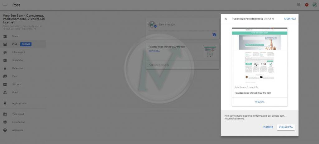 dashboard della gestione POST di Google Business